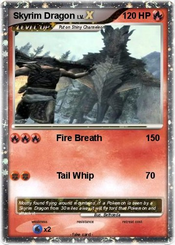 Elder Scrolls V : Skyrim wallpaper probably with anime titled Skyrim Dragon Pokemon Card