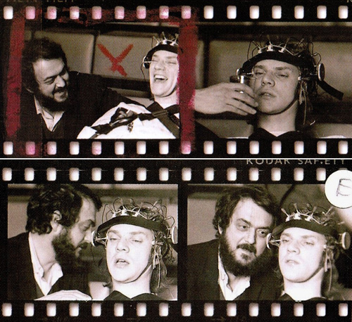 A Clockwork Orange wallpaper possibly with a sign and a glockenspiel titled Stanley Kubrick & Malcolm McDowell on the set