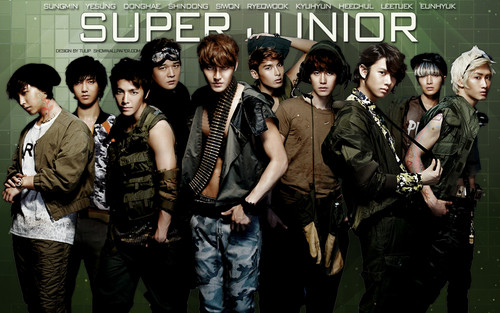 Super Junior wallpaper with a green beret, regimentals, and battle dress entitled Super Junior !<3