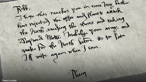 Theon's letter to Robb