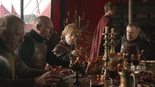 House Lannister wolpeyper possibly with a pab titled Tyrion and Kevan