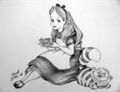 alice in wonderland - cartoon-drawing photo