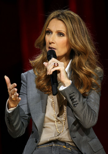 Celine Dion wallpaper possibly with a business suit titled press conference after her show at the Colosseum
