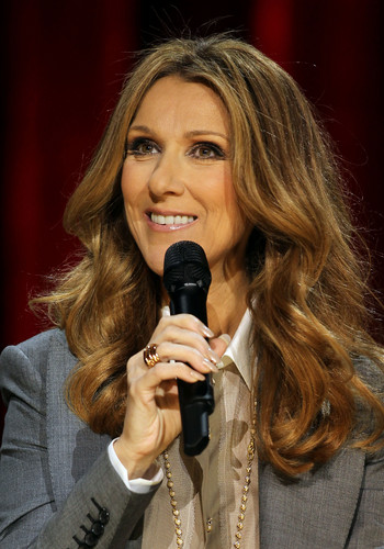 Celine Dion achtergrond entitled press conference after her toon at the Colosseum