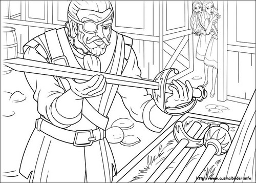 Barbie And The Three Musketeers Wallpaper Possibly Containing Anime Called 3Ms Coloring Page