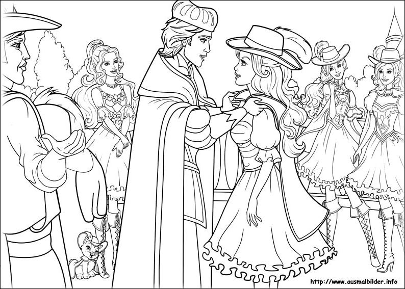 Free Coloring Pages Barbie Three Musketeers : Ms coloring page barbie and the three musketeers photo