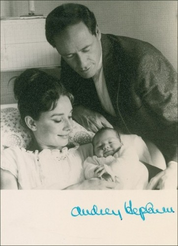 Audrey Hepburn, Mel Ferrer and Sean their son