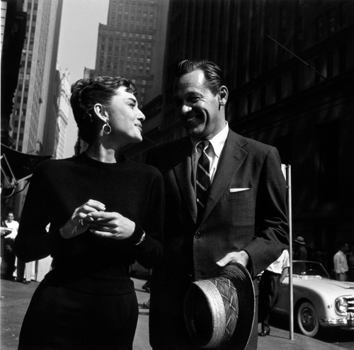Sabrina (1954) wallpaper containing a business suit titled Audrey and William Holden in Sabrina