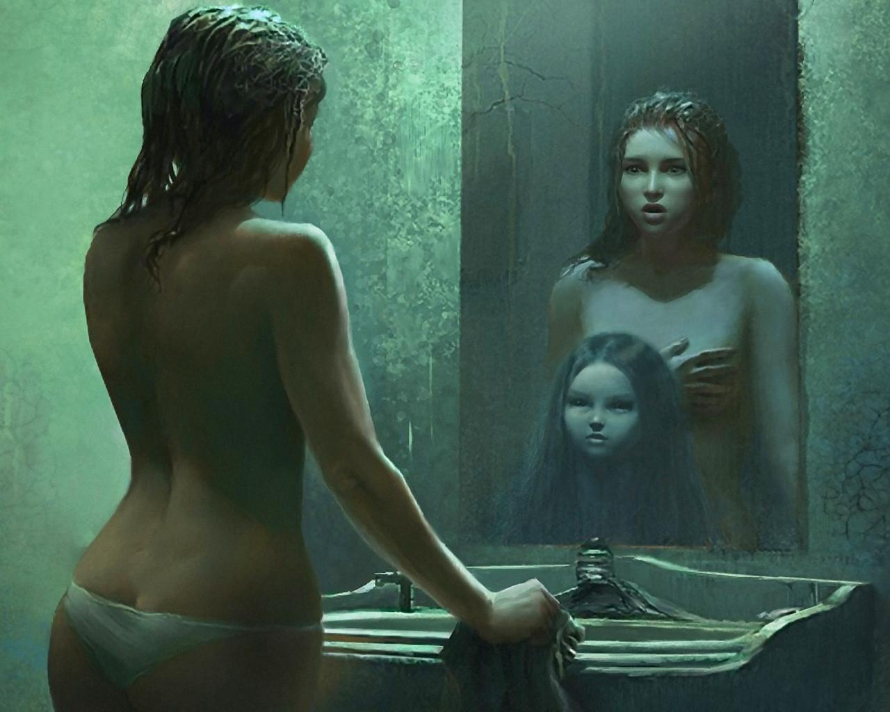 Фото голых девочек в зеркале 2 фотография