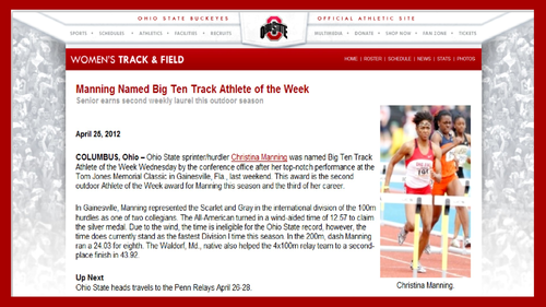 CHRISTINA MANNING NAMED B1G TRACK ATHLETE OF THE WEEK 4-25-2012