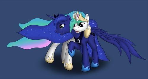 Celestia conforting her sister