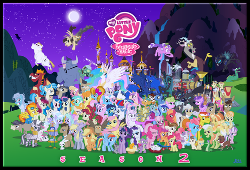 my little pony friendship is magic wallpaper entitled Character Cluster oleh Blue-Paint-Sea