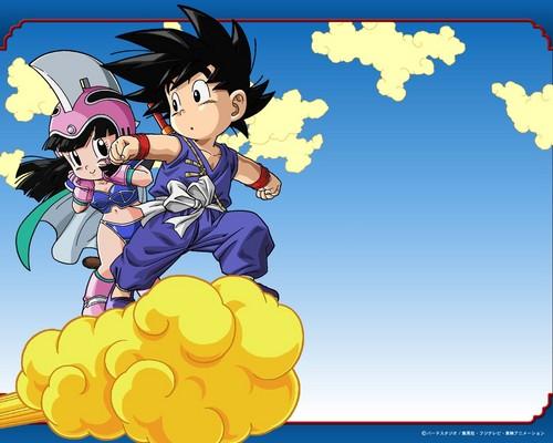 Chi Chi and Kid Goku on Nimbus
