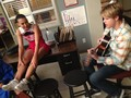 Chord playing guitar for Naya on Glee set