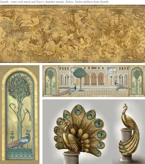 Concept art for Qarth murals and artifacts