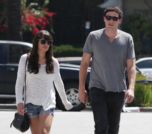 Cory Monteith wallpaper with sunglasses titled Cory & Lea Having Lunch Together in Los Angeles on April 20-2012