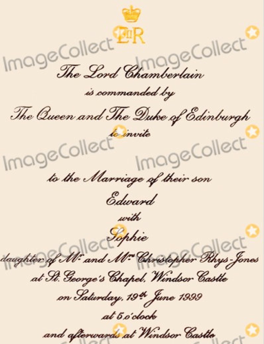 Countess Sophie and Prince Edward Wedding invitation