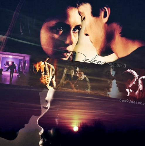 Damon & Elena wallpaper possibly containing a fire, a sign, and a concert called Delena season 3