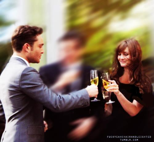 Ed and Leighton clinking the champagne glasses ♥