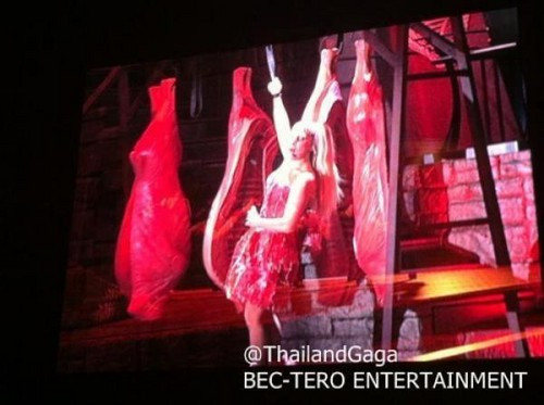 Gaga was wearing a meat dress during Americano!