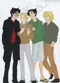 Harry, Jace, Percy, and Peeta - crossovers fan art