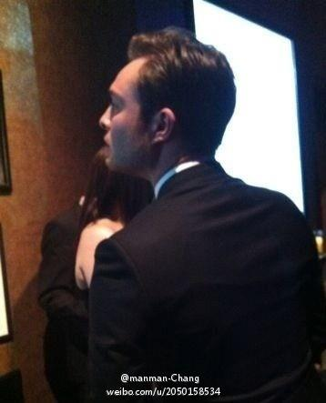 Ed Westwick Hintergrund containing a business suit called Harry Winston Party - April 27, 2012