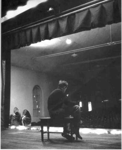 James Dean on his high school stage in Fairmount, IN.