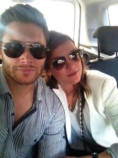 Jensen Ackles wallpaper probably containing sunglasses titled Jensen & Danneel