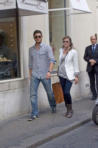 Jensen Ackles wallpaper possibly with a street and a business suit called Jensen and Danneel in Rome