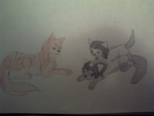 Jessica, Flame(Cat form) and Katy(Mother)