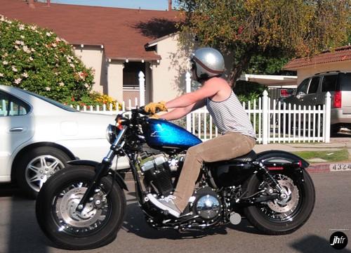 Josh riding his motorcycle around LA