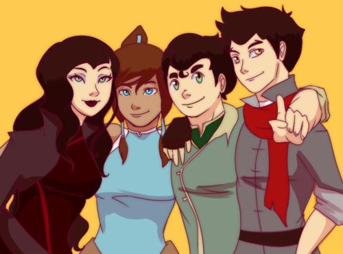Korra, Mako, Bolin, and Asami