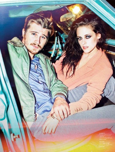 On the Road (Movie) wallpaper containing anime entitled Kristen Stewart & Garrett Hedlund Cover Jalouse May 2012