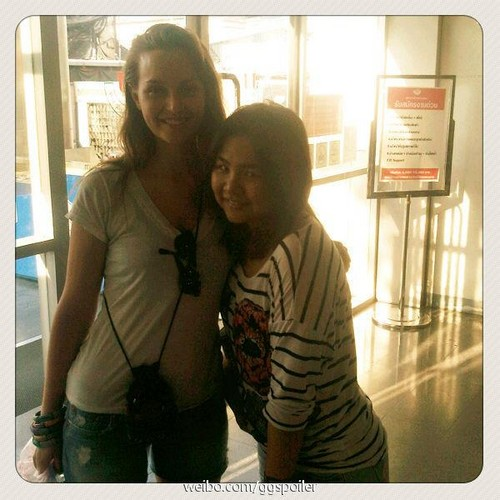 Leighton in Thailand with a fan!!