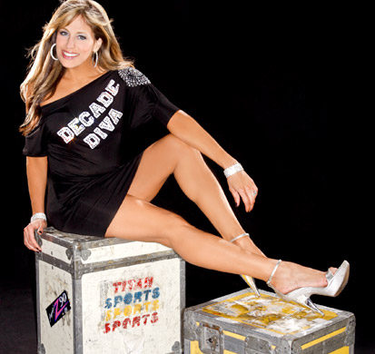 Lilian Garcia achtergrond probably containing a packing box and a sign titled Lilian Garcia Photoshoot Flashback