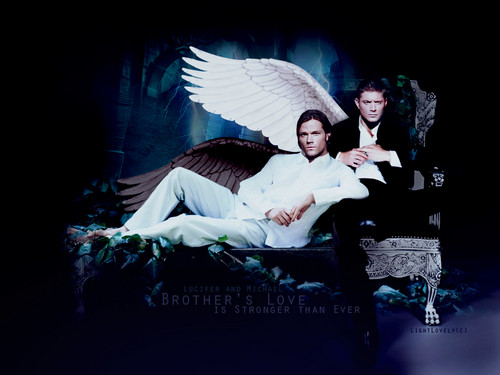 supernatural wallpaper probably containing a drawing room, a living room, and a sign titled Lucifer and Michael