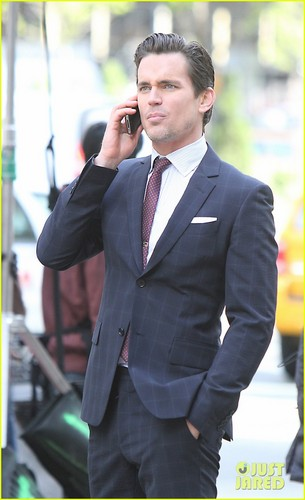 Matt Bomer Hintergrund containing a business suit, a suit, and a two piece titled Matt Bomer: 'White Collar' Set!