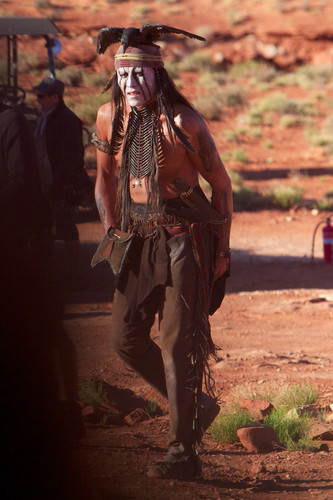 Johnny Depp wallpaper with a green beret and a rifleman called On the set of the lone ranger