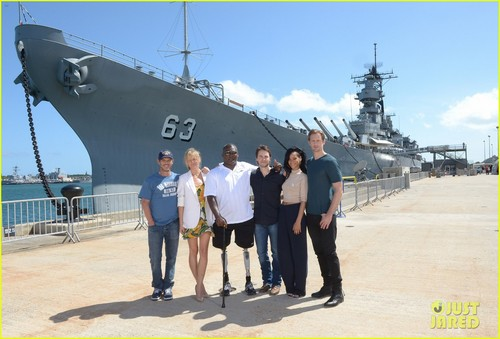 Alexander Skarsgård wallpaper possibly containing a destroyer, a frigate, and a battleship called Rihanna & Alexander Skarsgard: 'Battleship' in Pearl Harbor!