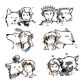Stark Children (with their direwolves) - house-stark fan art