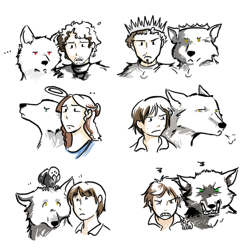 House Stark wallpaper probably with anime entitled Stark Children (with their direwolves)