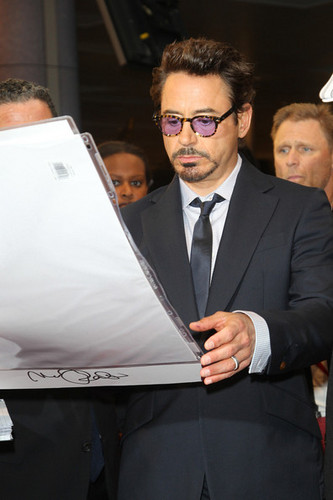 Robert Downey Jr. wallpaper containing a business suit called Stars at the Premiere of 'The Avengers' in London