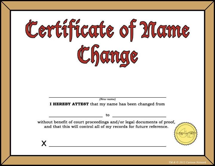 The Certificate of Name Change