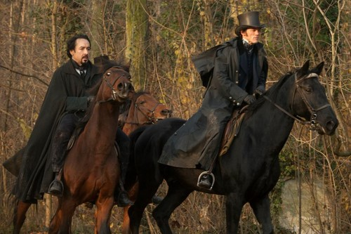 John Cusack wallpaper with a horse wrangler and a horse trail called The Raven Movie Images.
