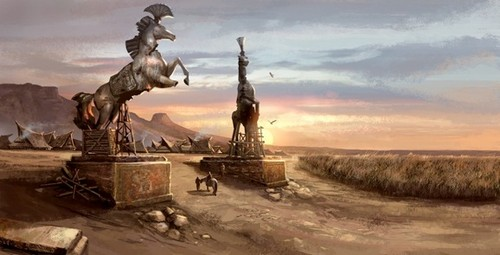 Game of Thrones wallpaper with a fountain called Vaes Dothrak concept art