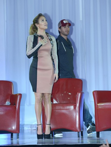 Jennifer Lopez wallpaper probably containing tights, a living room, and a playsuit titled Wisin Y Yandel Press Conference [30 April 2012]
