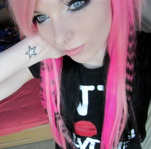 german, scene queen, Эмо girl, ira vampira, pink, blue, purple, black, hair