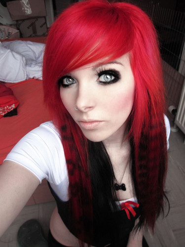 german, scene queen, 情绪硬核 girl, ira vampira, pink, red, hair, coontails, sitemodel