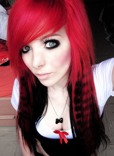 german, scene queen, এমো স্টাইল girl, ira vampira, pink, red, hair, coontails, sitemodel