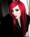 german, scene queen, emo girl, ira vampira, pink, red, hair, coontails, sitemodel - emo photo